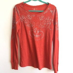 Free People Burn Out Long Sleeve T-shirt size Med